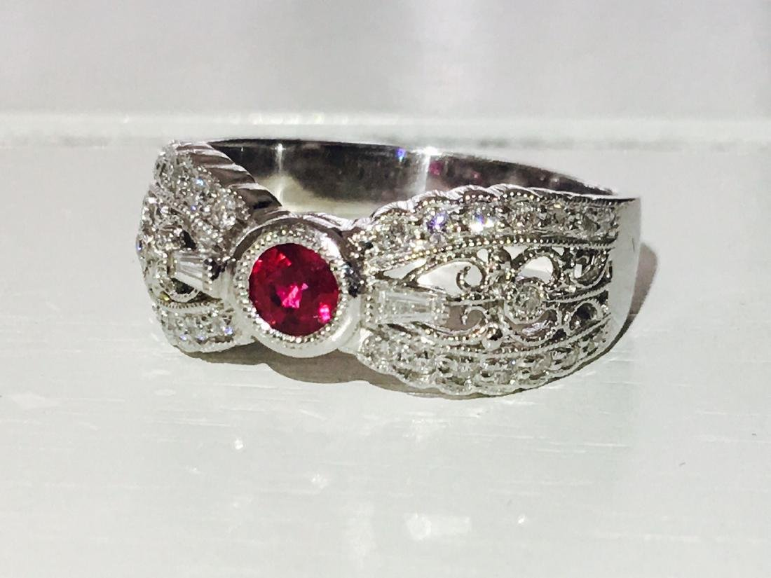 Diamond Platinum and No Heat Ruby Ring - 4
