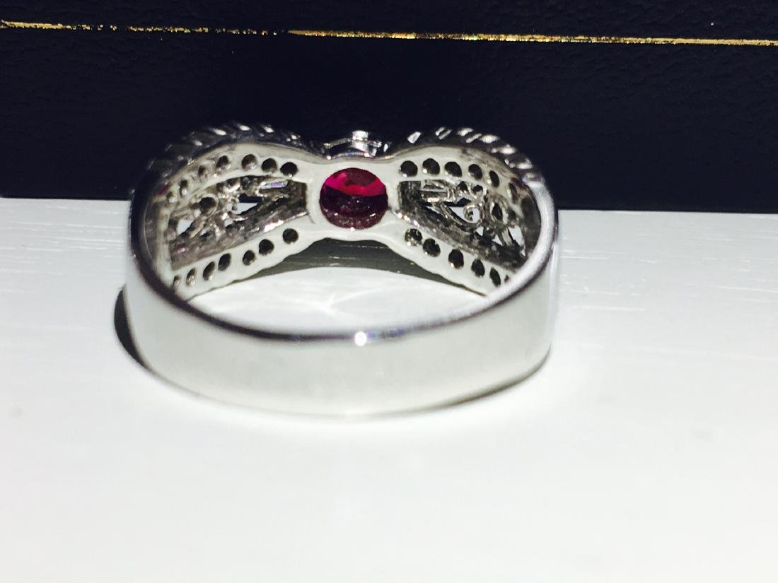 Diamond Platinum and No Heat Ruby Ring - 6