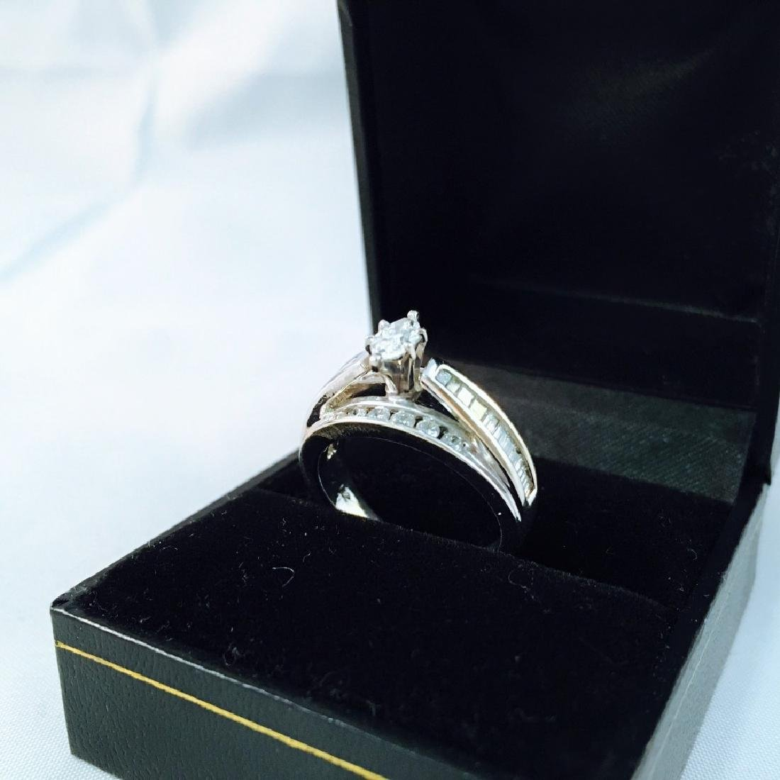 14K White Gold and Marquise Diamond Engagement Ring - 2