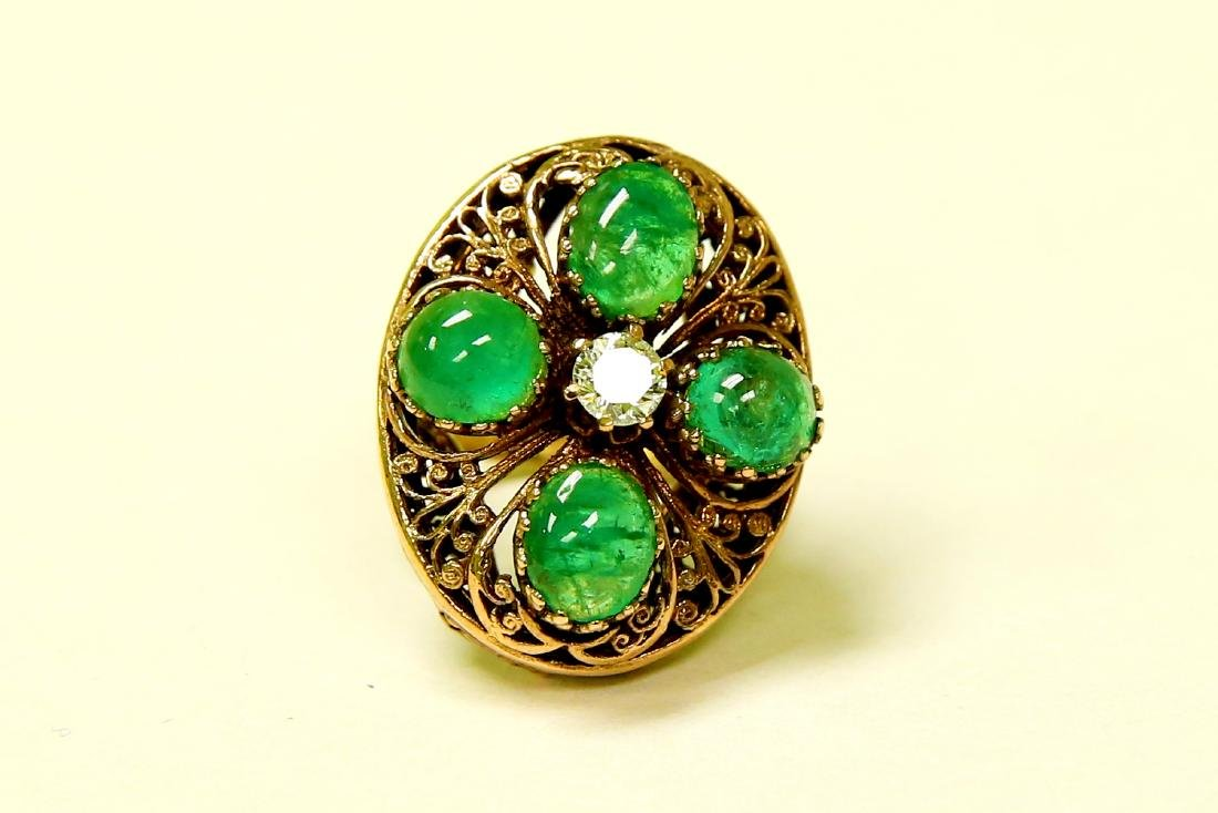 14K Real Vintage 8.50 CARAT Emerald And Diamond Ring
