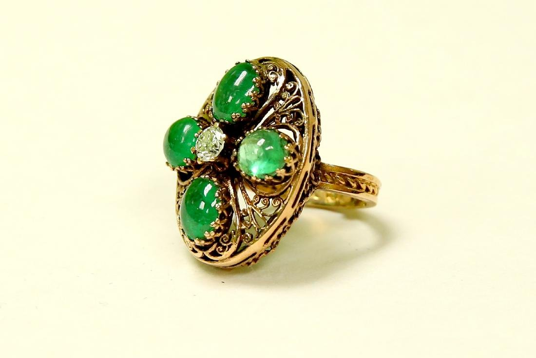 14K Real Vintage 8.50 CARAT Emerald And Diamond Ring - 3