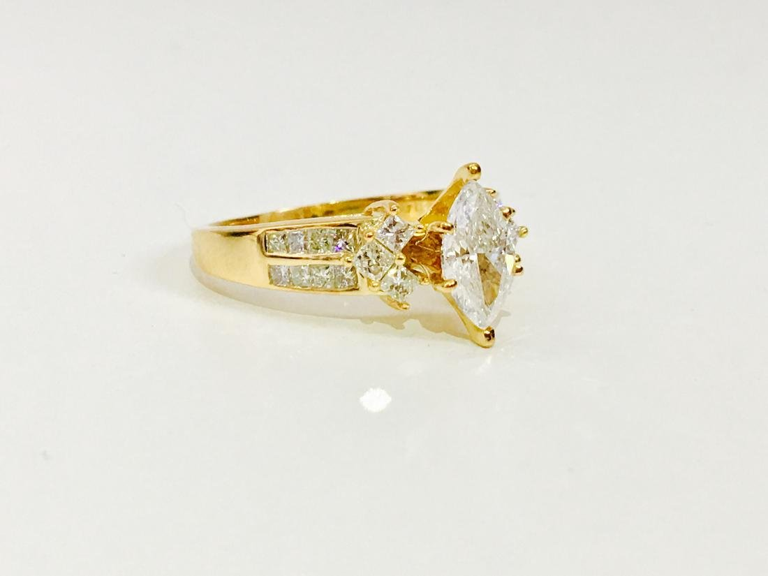 14K Yellow gold. 0.80CT Marquise Cut Diamond Ring - 2