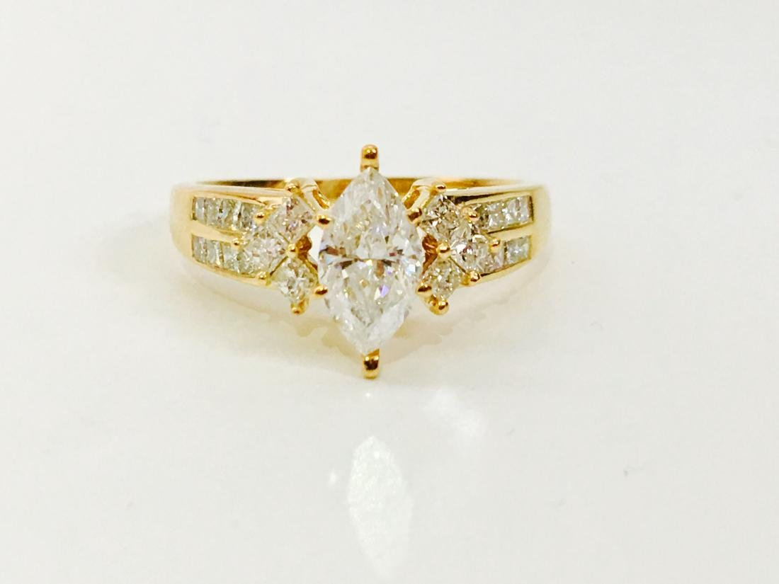 14K Yellow gold. 0.80CT Marquise Cut Diamond Ring - 6