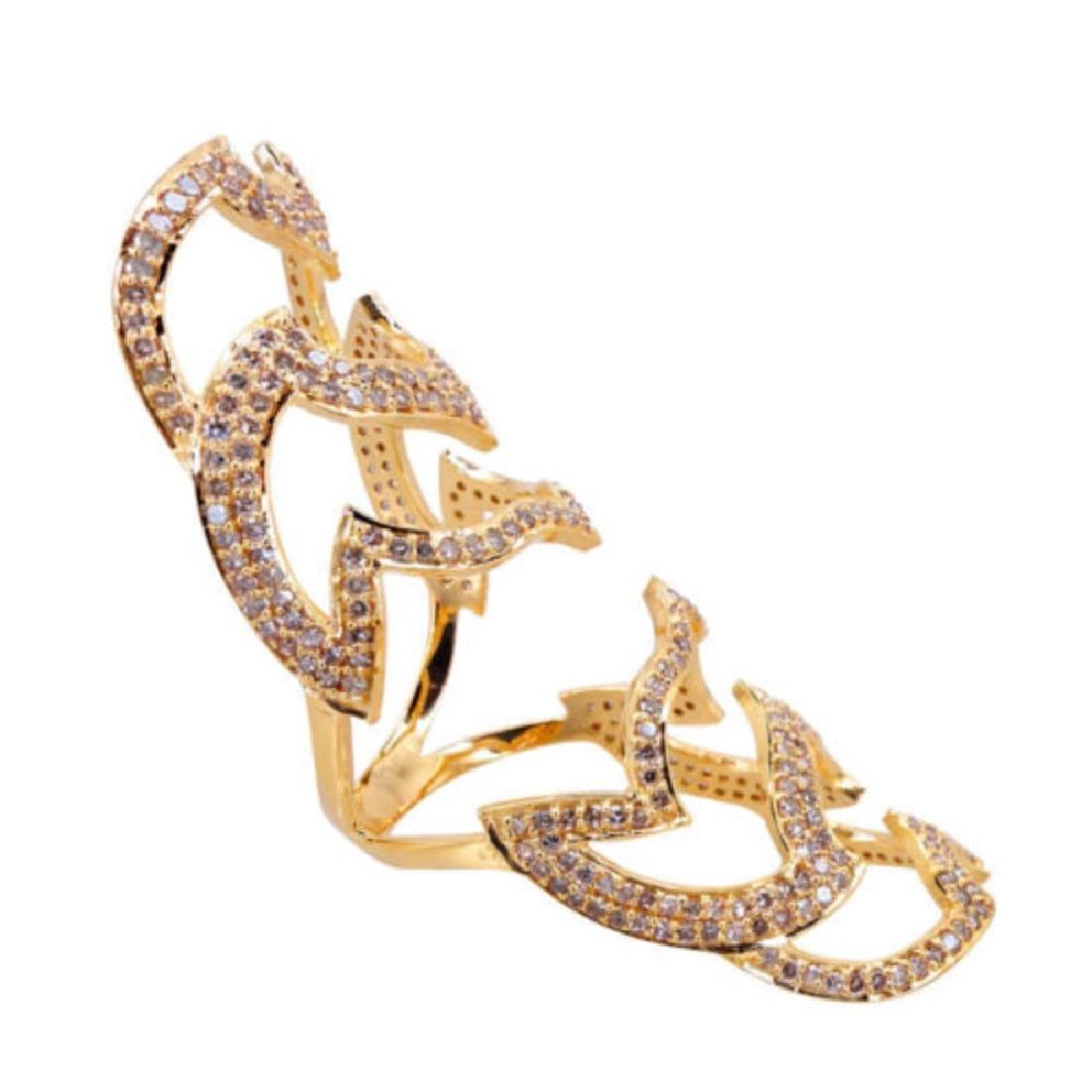 18k Yellow Gold 1.97 Ct Natural Diamond Pave Ring - 2