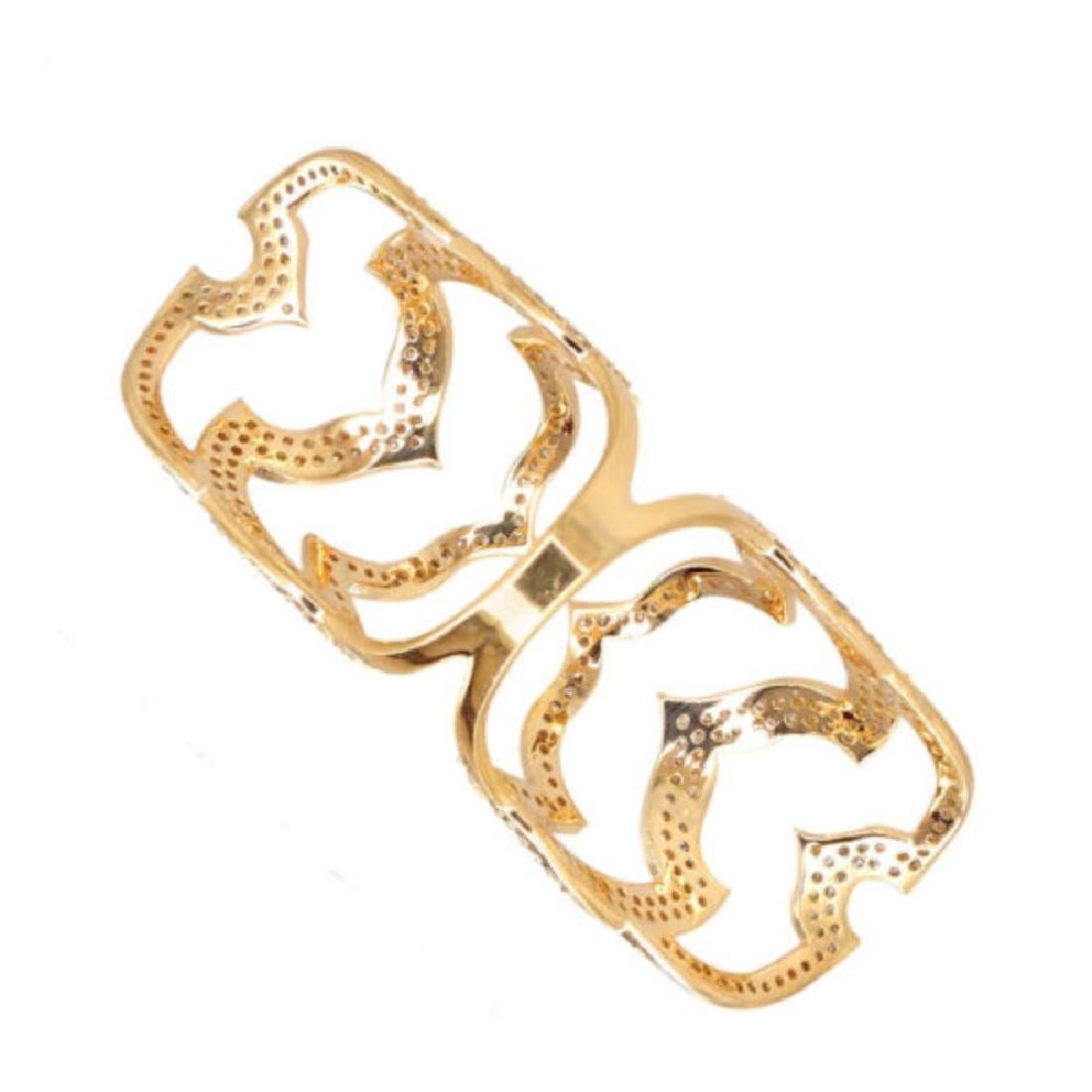 18k Yellow Gold 1.97 Ct Natural Diamond Pave Ring - 4