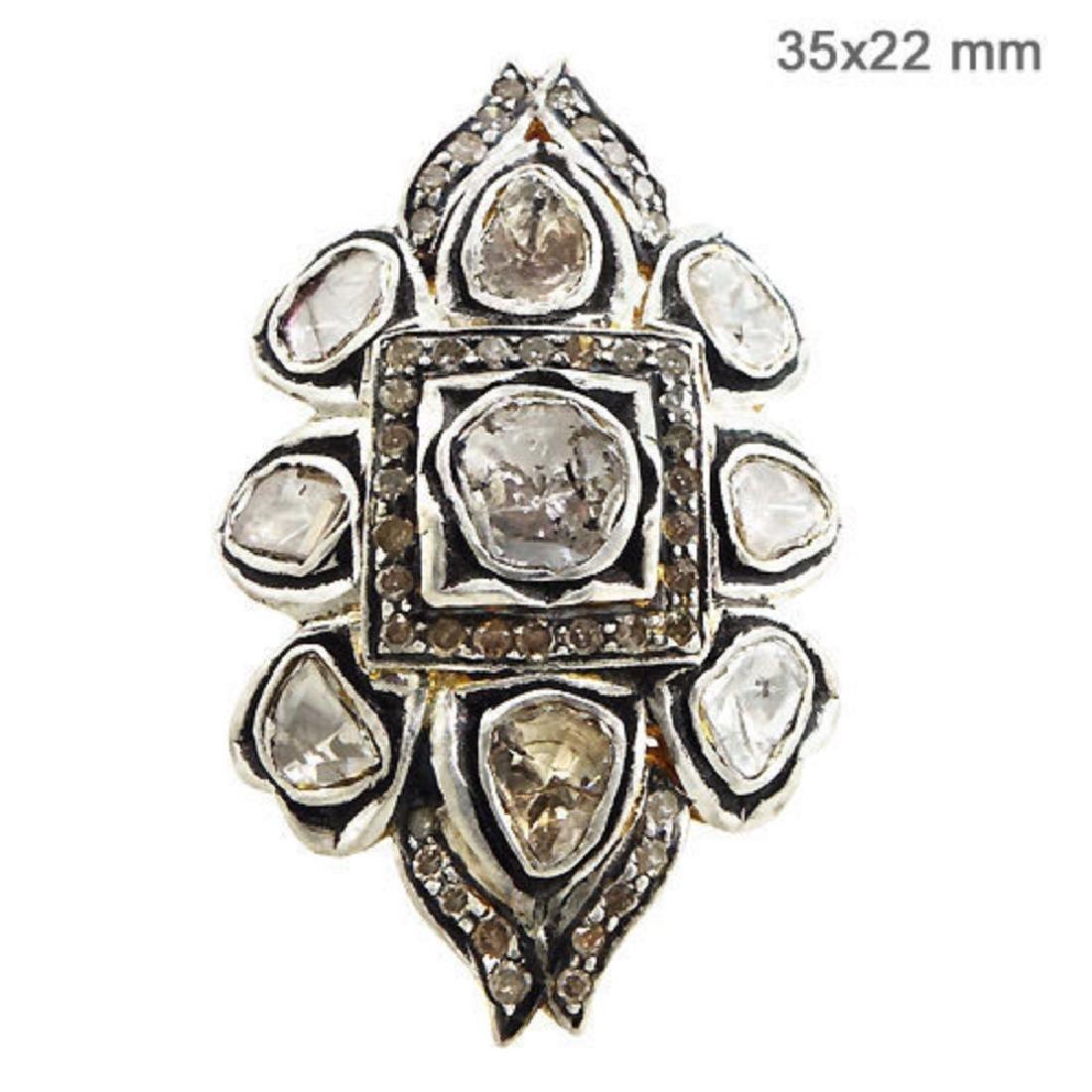 Natural Rose Cut Diamond Pave Ring. 14K Yellow Gold