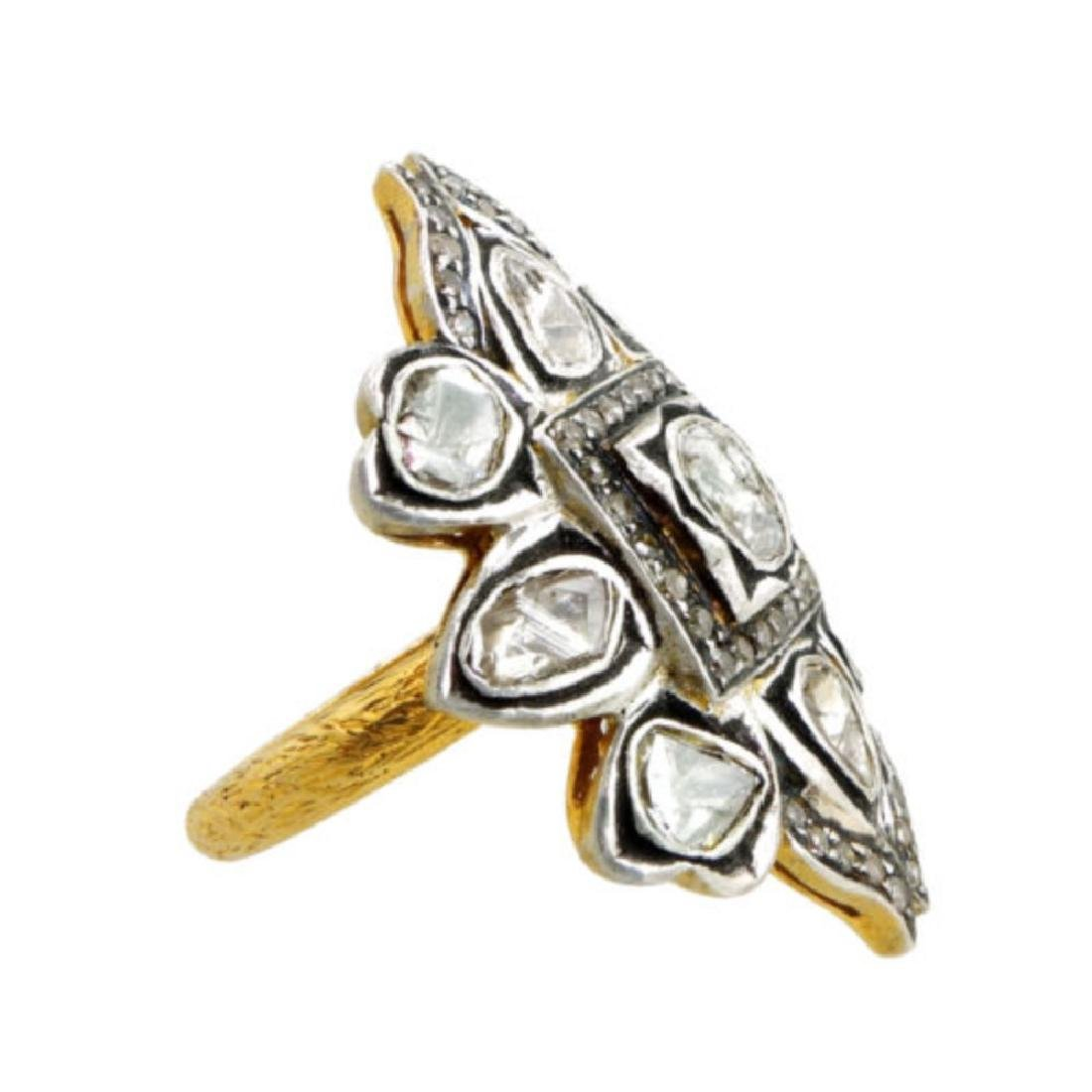 Natural Rose Cut Diamond Pave Ring. 14K Yellow Gold - 2