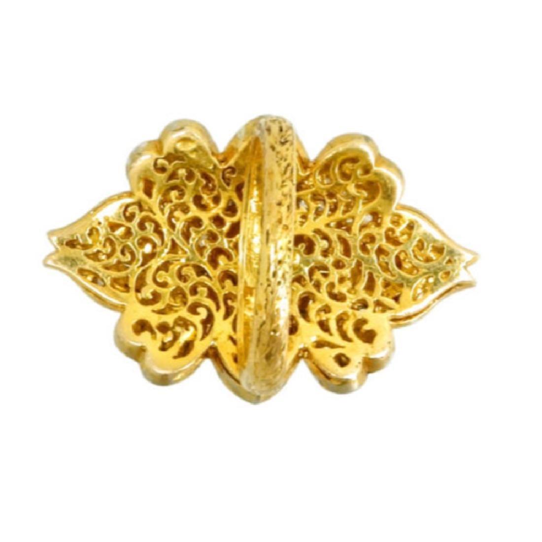 Natural Rose Cut Diamond Pave Ring. 14K Yellow Gold - 3
