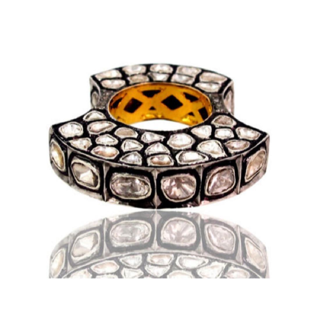 4.70ct Rose Cut Diamond Pave. 14K gold Ring