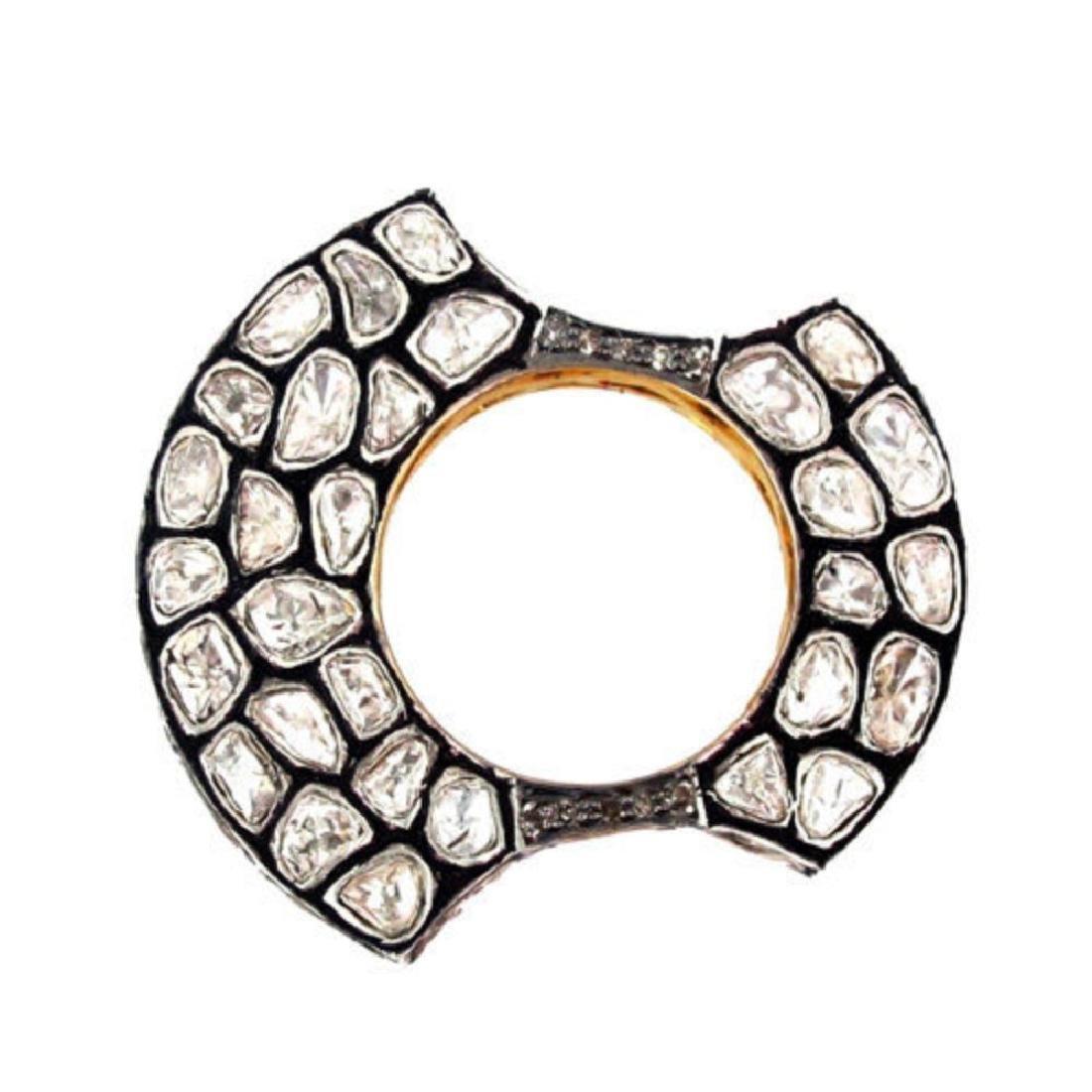 4.70ct Rose Cut Diamond Pave. 14K gold Ring - 2