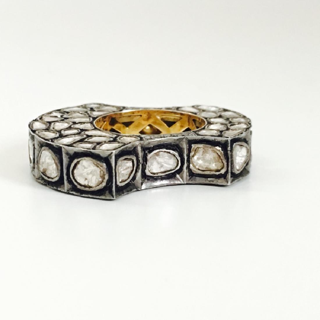 4.70ct Rose Cut Diamond Pave. 14K gold Ring - 3