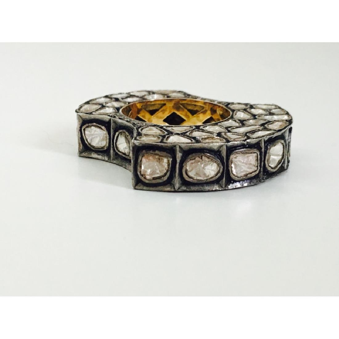 4.70ct Rose Cut Diamond Pave. 14K gold Ring - 4