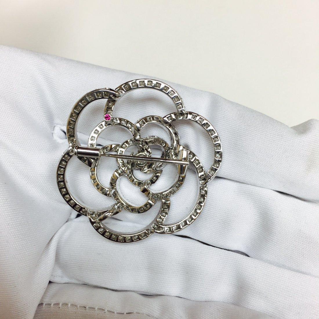 18K white gold and 5.50CT diamond pin - 3