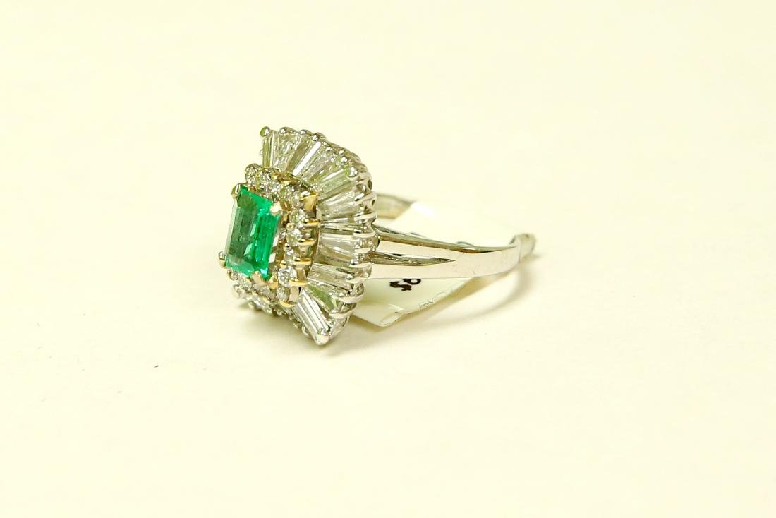 14K, High Quality Colombian Emerald and Diamond Ring - 2