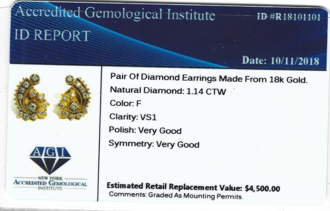 18K Yellow Gold 1 carat vintage Diamond Earrings. - 5