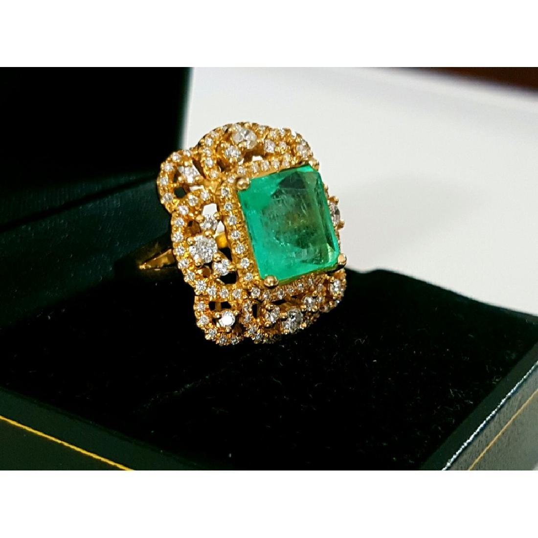 18k Gold Vintage 6 ct Emerald Diamond Cocktail Ring - 3