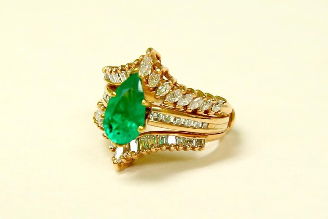 14k Gold 5.00 CARAT Diamond & EMERALD Engagement Ring - 3