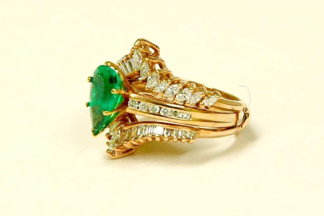 14k Gold 5.00 CARAT Diamond & EMERALD Engagement Ring - 5