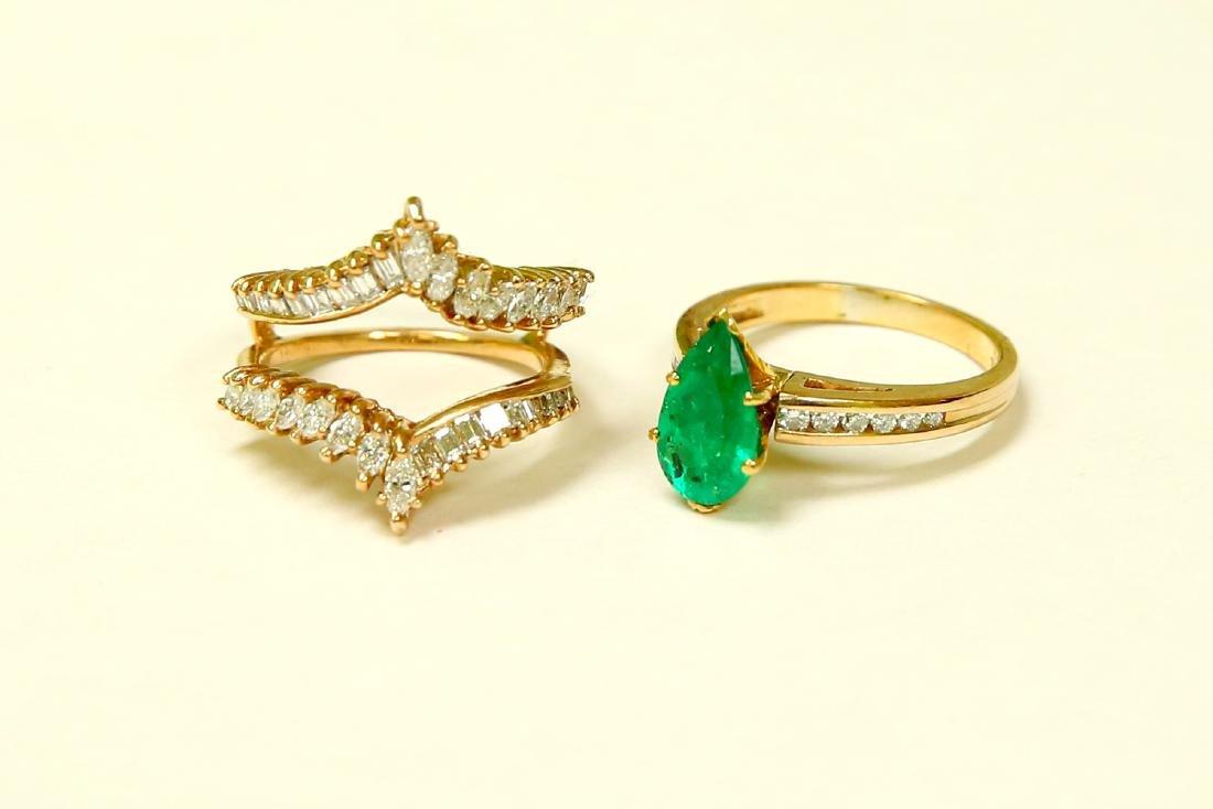 14k Gold 5.00 CARAT Diamond & EMERALD Engagement Ring - 6