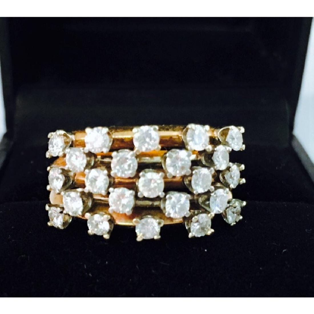 14k Gold, White Diamond Cocktail Ring