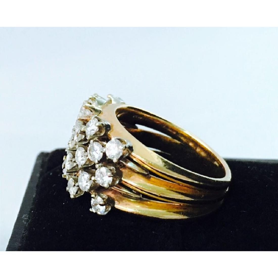 14k Gold, White Diamond Cocktail Ring - 2