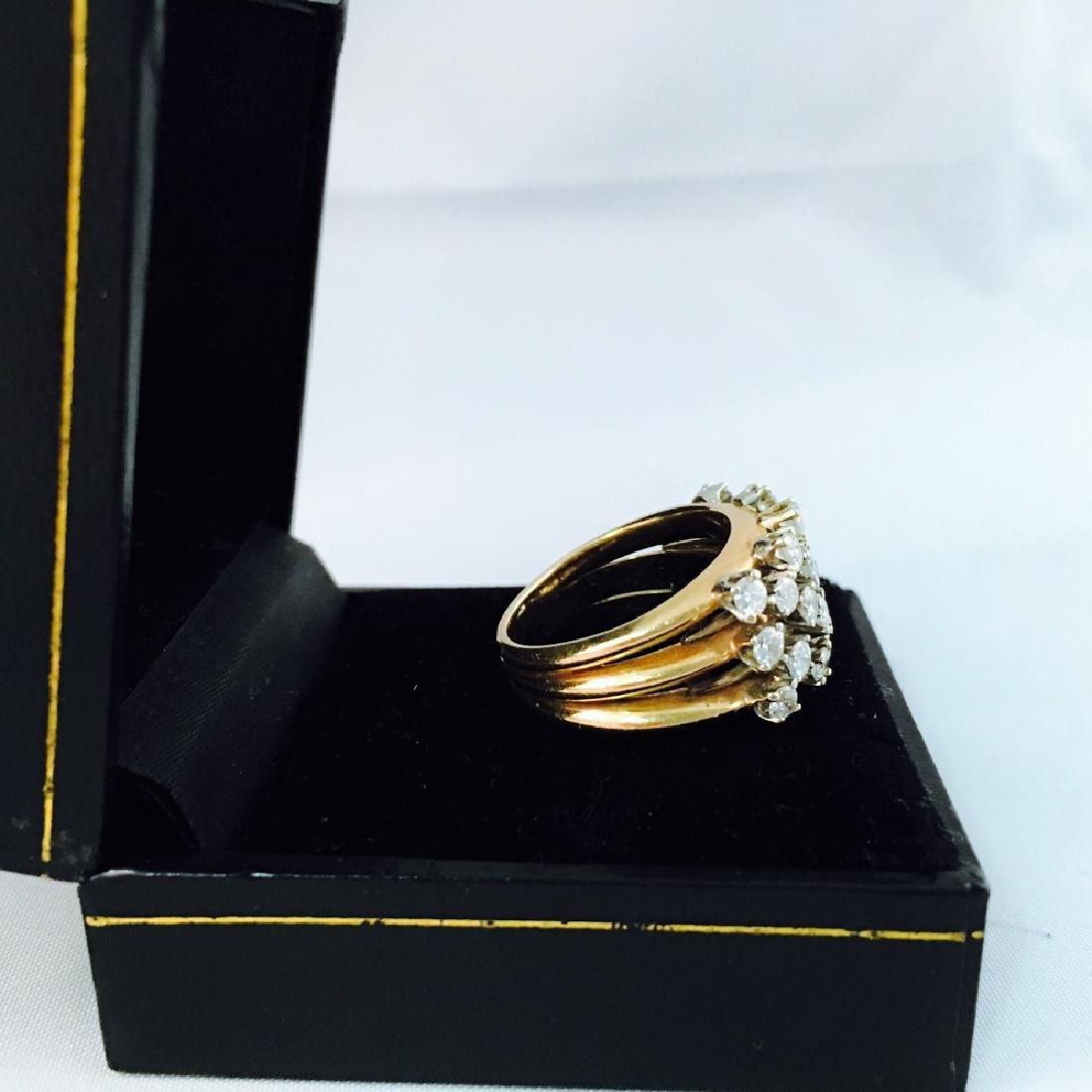 14k Gold, White Diamond Cocktail Ring - 3