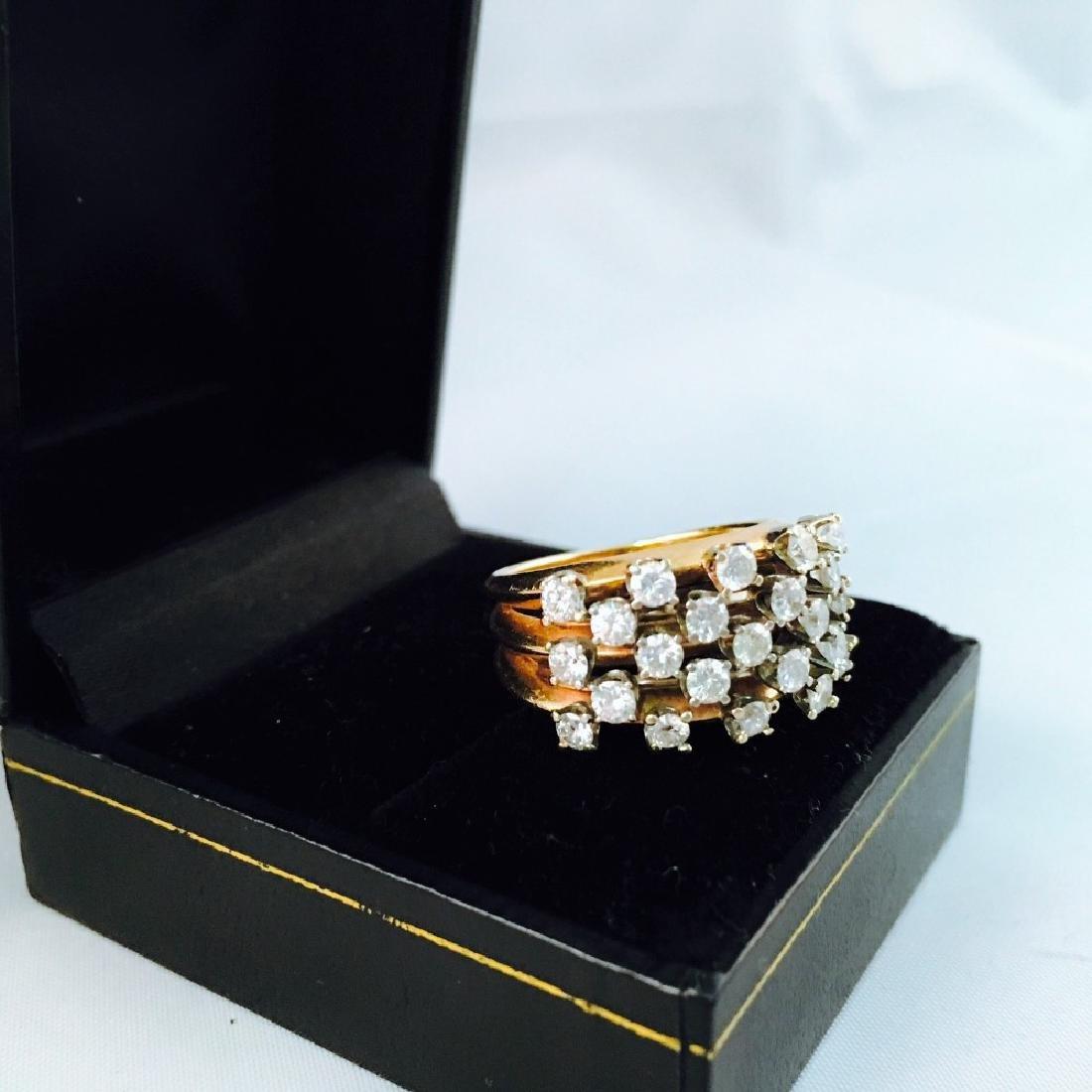 14k Gold, White Diamond Cocktail Ring - 4