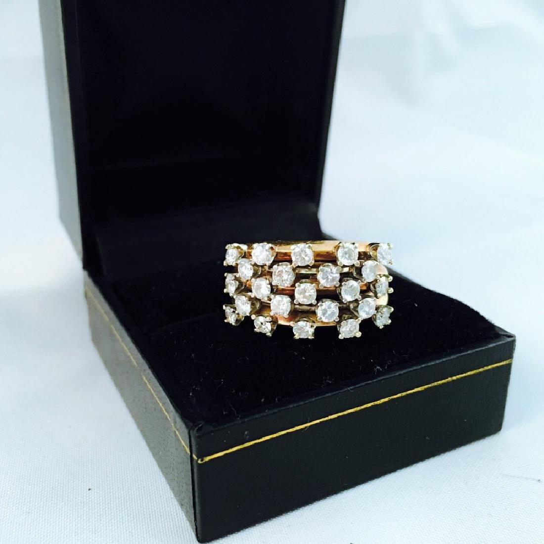 14k Gold, White Diamond Cocktail Ring - 5