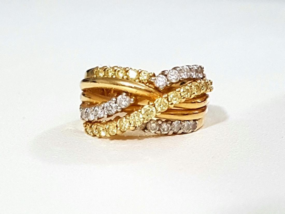 14K Gold, Yellow & White Diamond Fancy Criss Cross ring
