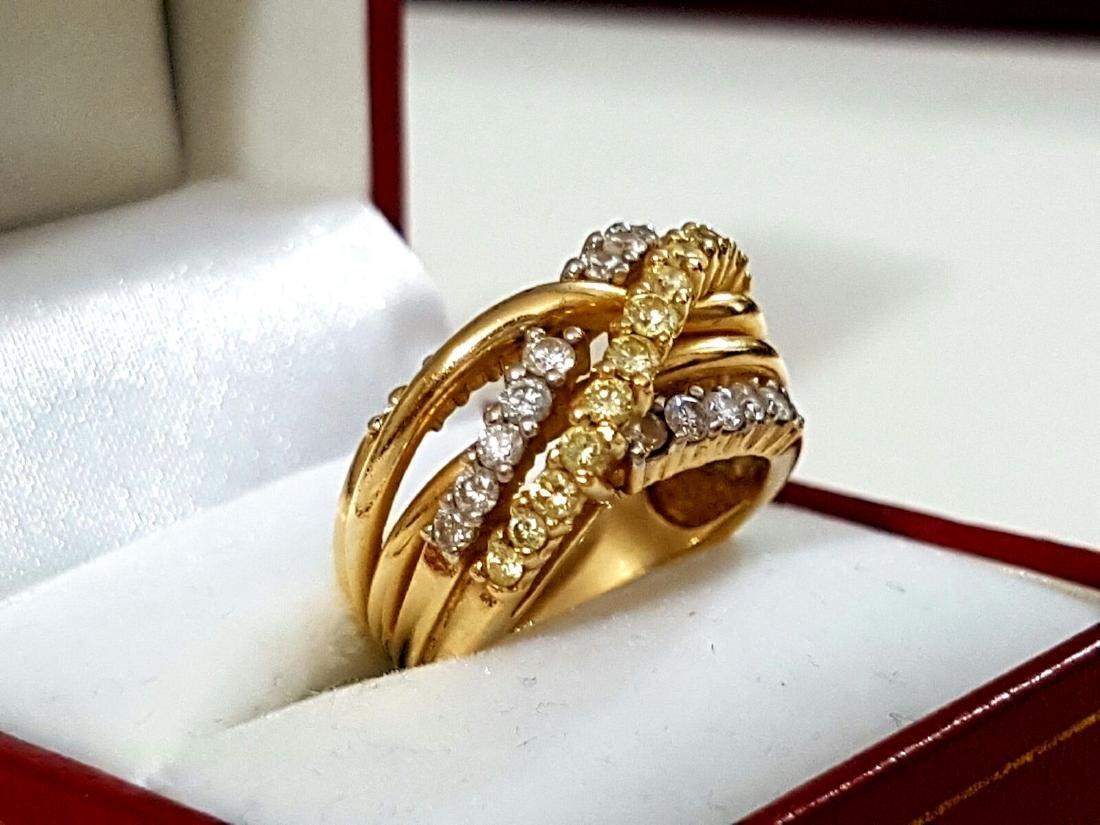 14K Gold, Yellow & White Diamond Fancy Criss Cross ring - 2