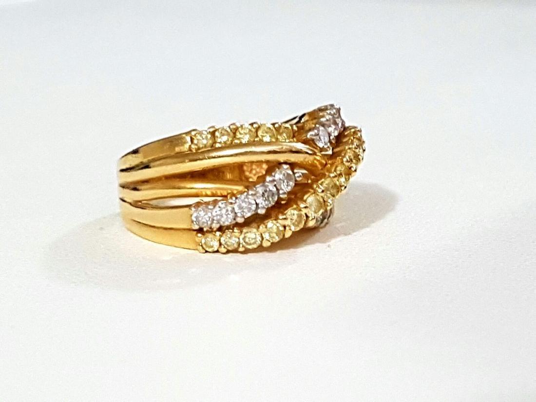 14K Gold, Yellow & White Diamond Fancy Criss Cross ring - 3