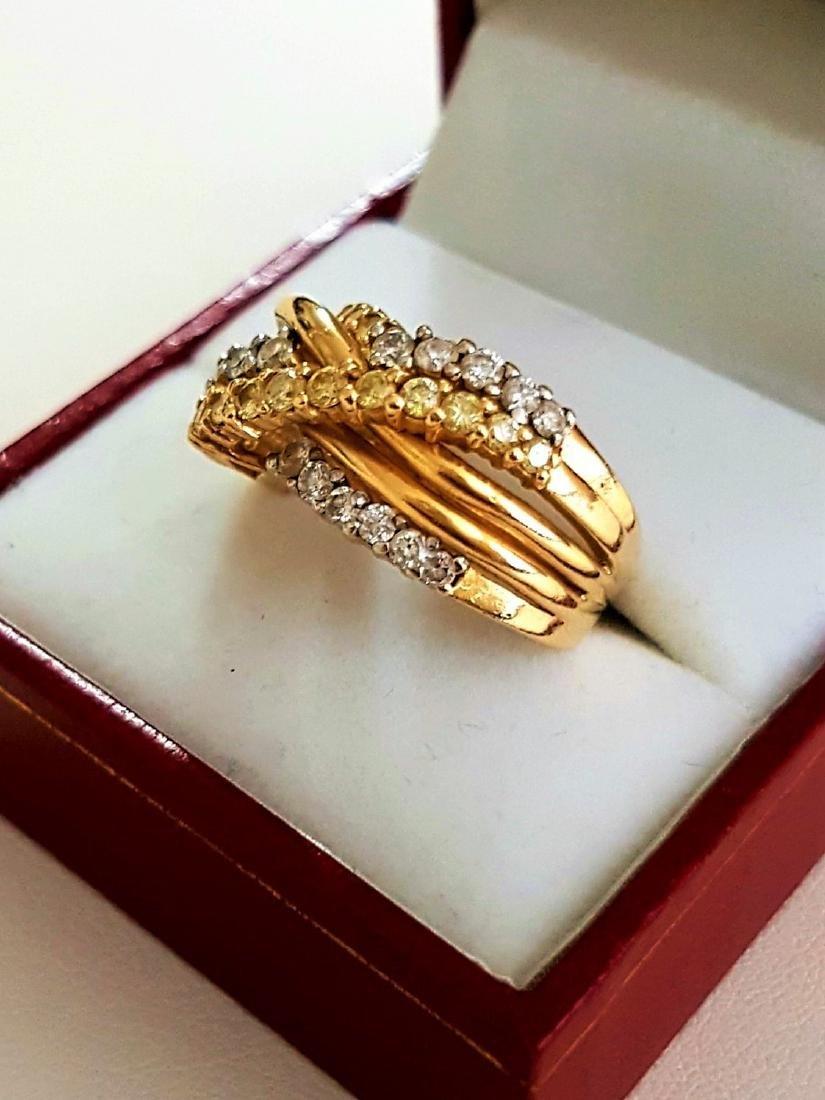 14K Gold, Yellow & White Diamond Fancy Criss Cross ring - 4