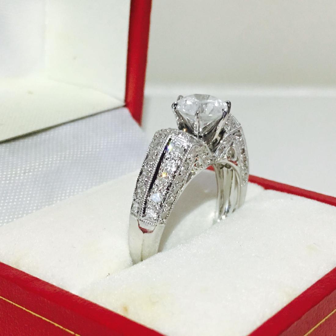 18K White Gold, 2.10 CT Diamond Engagement Ring - 4