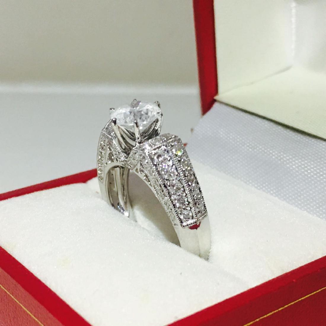 18K White Gold, 2.10 CT Diamond Engagement Ring - 5