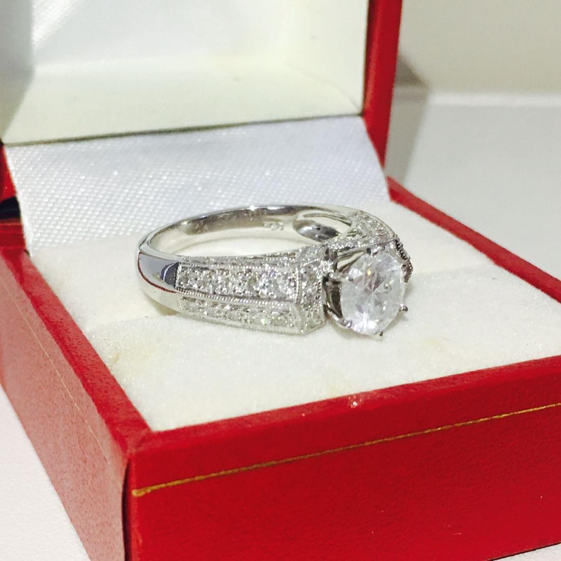18K White Gold, 2.10 CT Diamond Engagement Ring - 6
