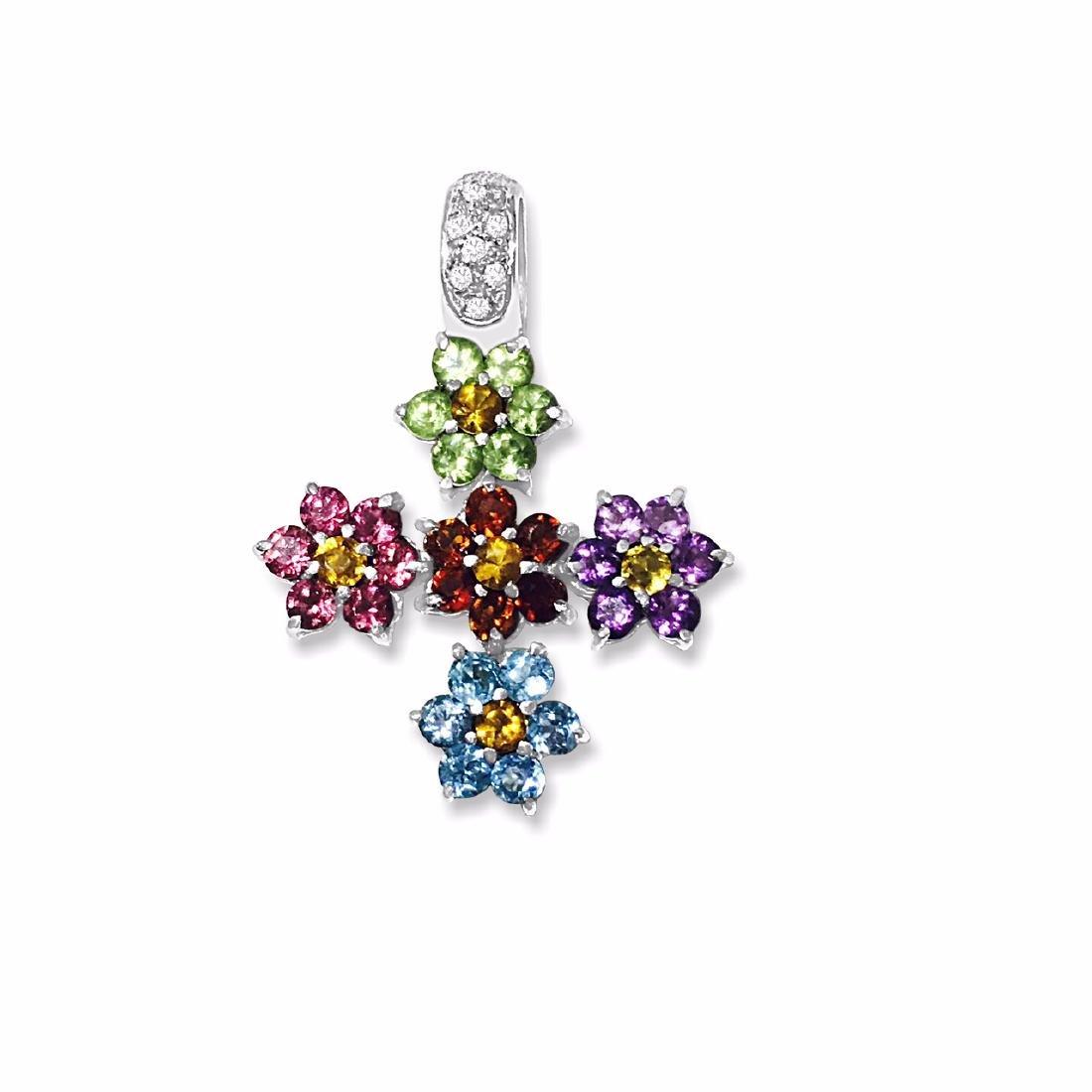 18k Gold Multi Color Gemstone Diamond Cross pendant - 2