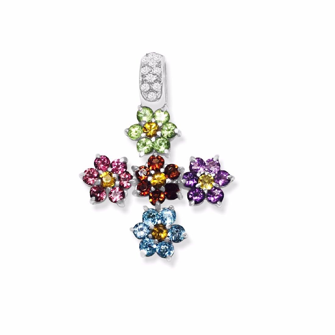 18k Gold Multi Color Gemstone Diamond Cross pendant - 3