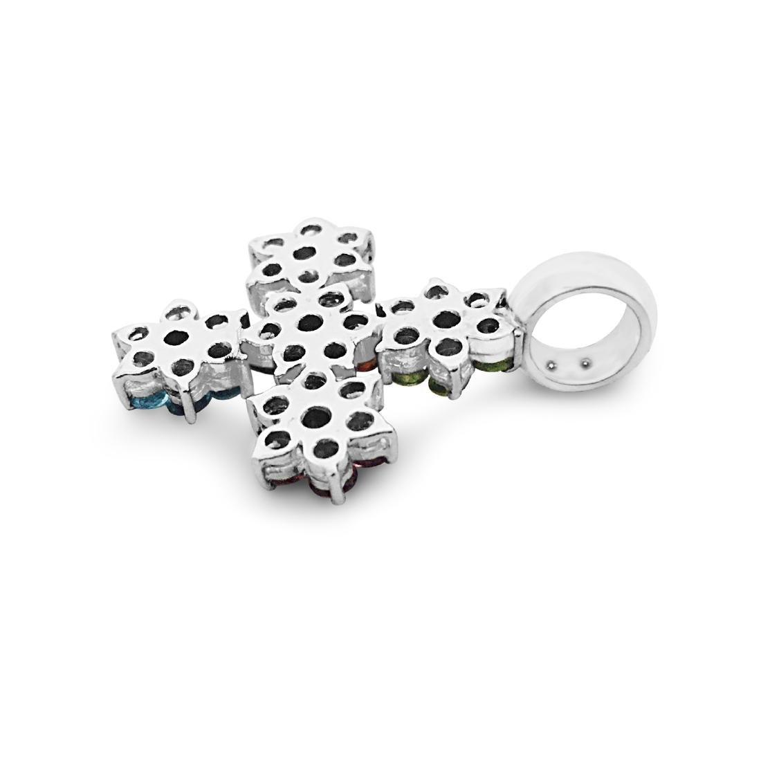 18k Gold Multi Color Gemstone Diamond Cross pendant - 4