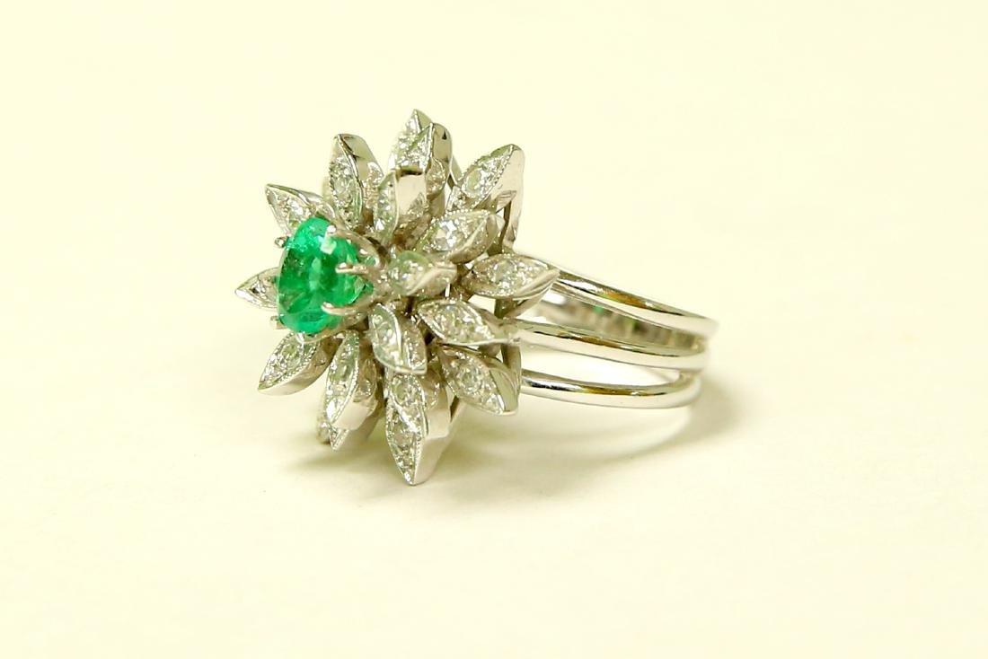 14K White Gold, Emerald & Diamond Cocktail Ring - 2