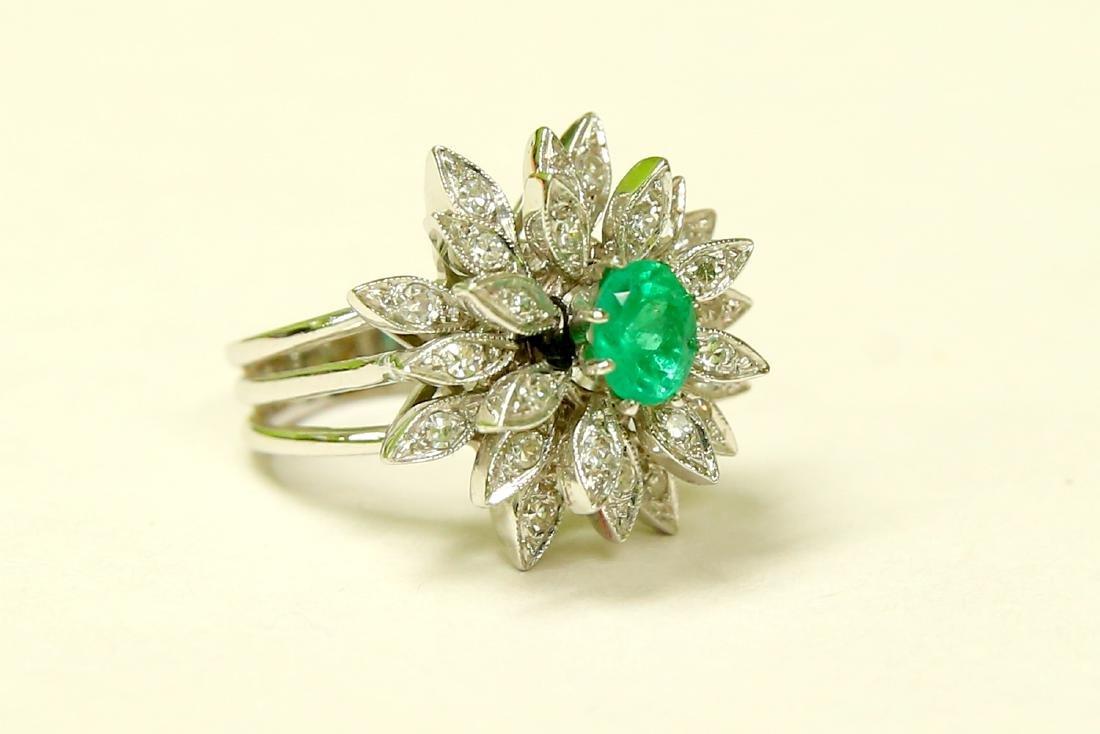 14K White Gold, Emerald & Diamond Cocktail Ring - 3