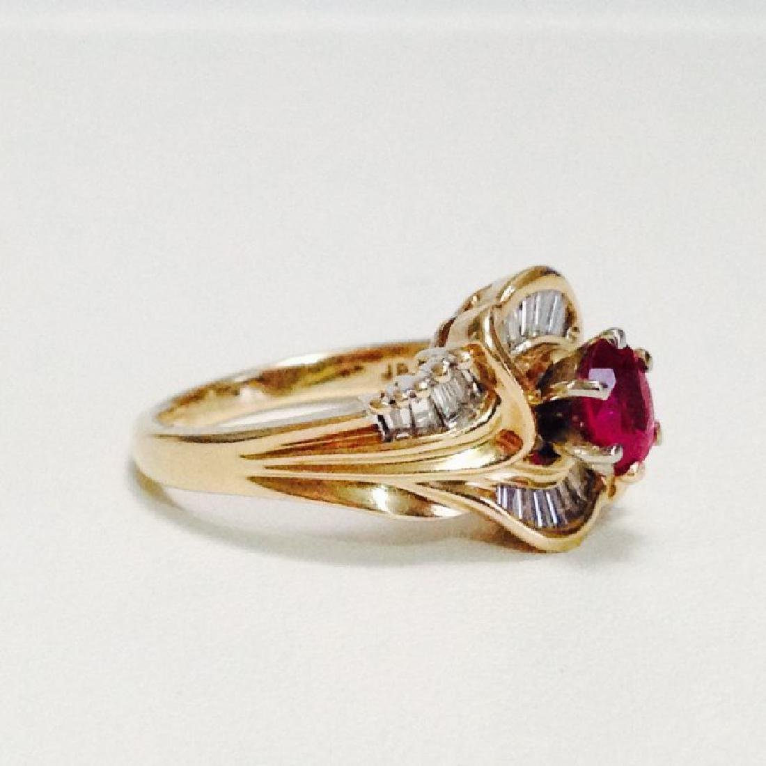 14k Gold Ruby And Diamond Cocktail Ring - 3