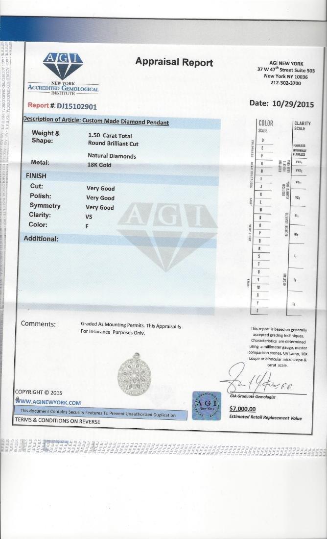 18k Vintage Hand Made Diamond Pendant Certified - 3