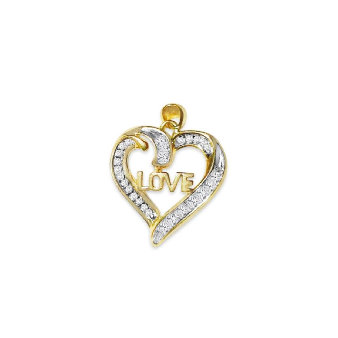 14k Yellow Gold, G color and SI Diamond Love Pendant