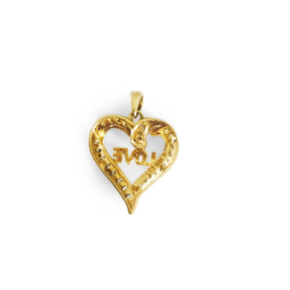 14k Yellow Gold, G color and SI Diamond Love Pendant - 2