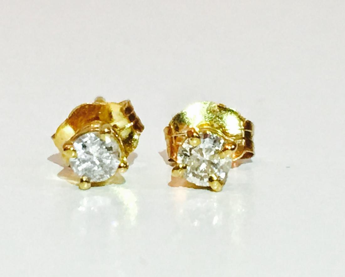 14K Yellow gold. 0.25 CT Diamond Studs/Earrings