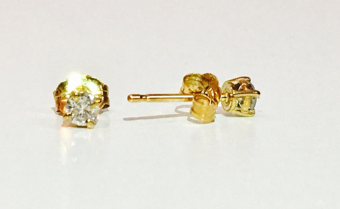 14K Yellow gold. 0.25 CT Diamond Studs/Earrings - 2