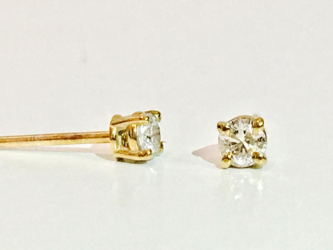 14K Yellow gold. 0.25 CT Diamond Studs/Earrings - 3