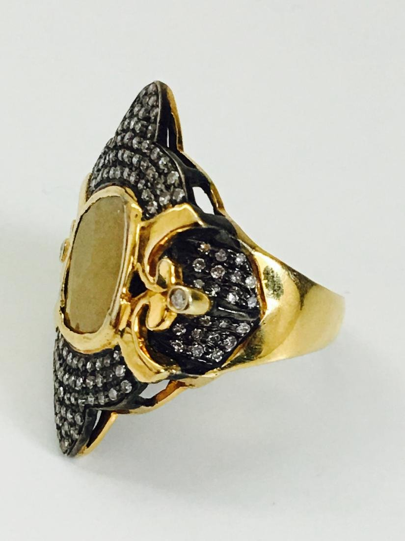 14K yellow and black gold, 3.25CT Antquie Diamond Ring - 2