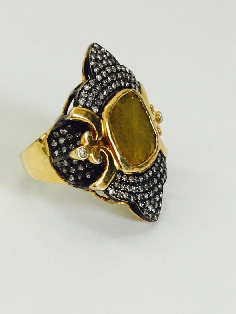 14K yellow and black gold, 3.25CT Antquie Diamond Ring - 3