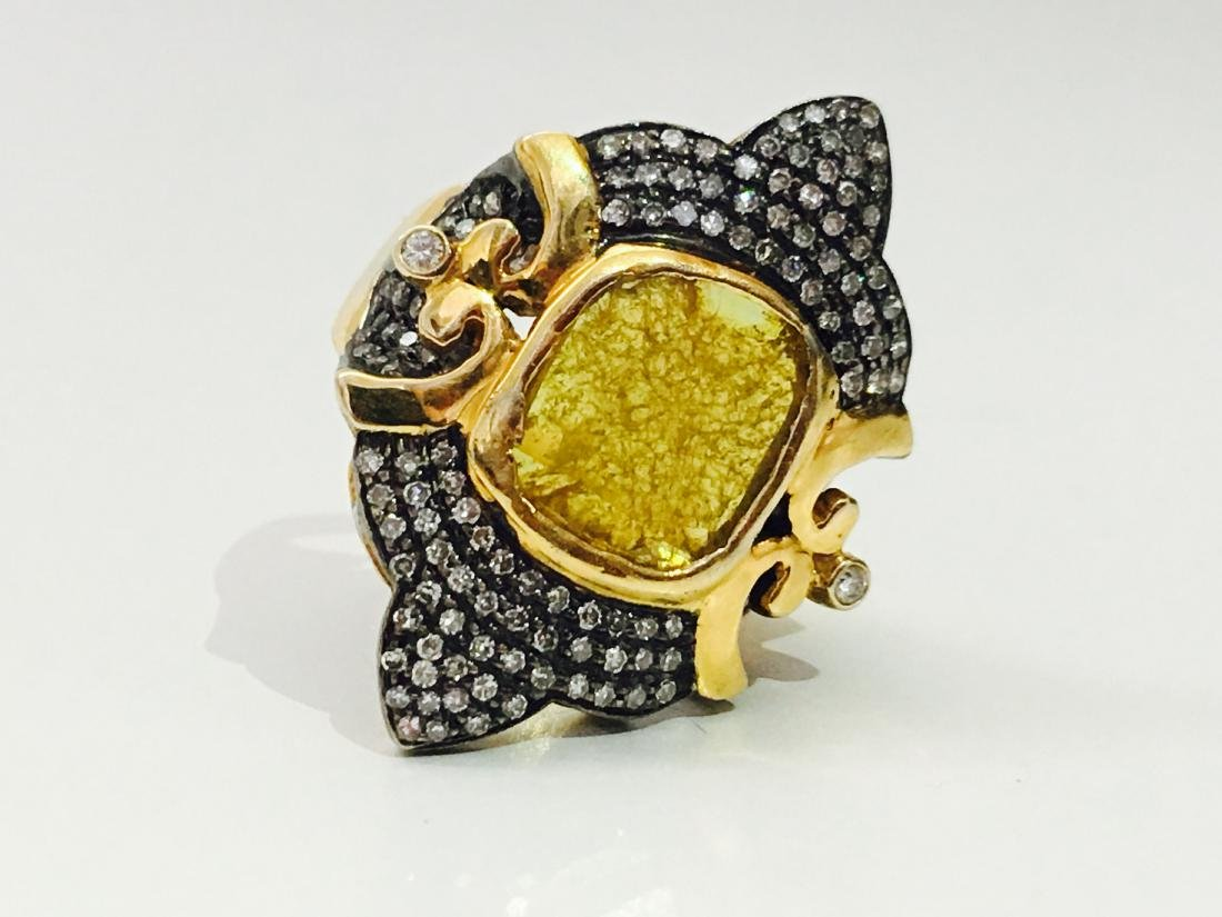 14K yellow and black gold, 3.25CT Antquie Diamond Ring - 4